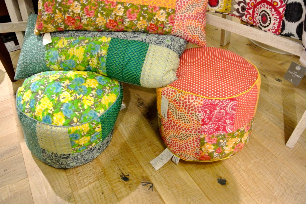Ottomans and pillow for either your bedroom or living room that really brighten up a space